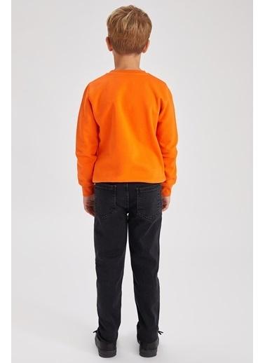 DeFacto Erkek Çocuk Yıpratmalı Dad Fit Jean Pantolon Siyah